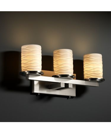 Shown in Brushed Nickel finish, Wave glass and Cylinder with Flat Rim (POR) shade